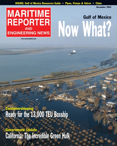 Cover of November 2005 issue of Maritime Reporter and Engineering News Magazine