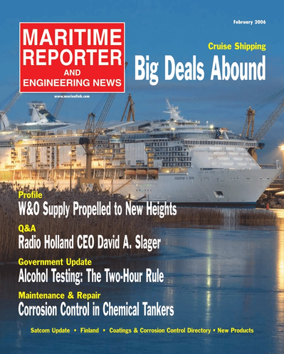 Cover of February 2, 2006 issue of Maritime Reporter and Engineering News Magazine