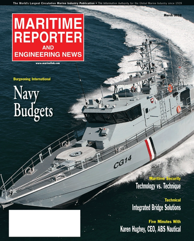 Cover of March 2, 2010 issue of Maritime Reporter and Engineering News Magazine