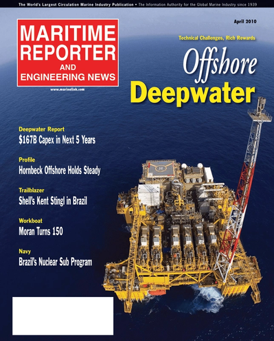 Cover of April 2, 2010 issue of Maritime Reporter and Engineering News Magazine