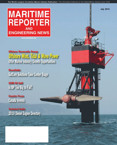 Cover of July 2010 issue of Maritime Reporter and Engineering News Magazine