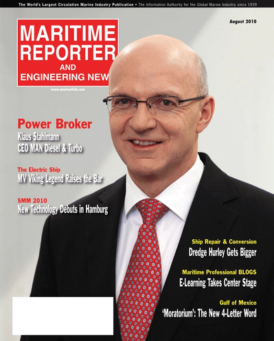Cover of August 2010 issue of Maritime Reporter and Engineering News Magazine