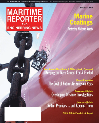 Cover of September 2010 issue of Maritime Reporter and Engineering News Magazine