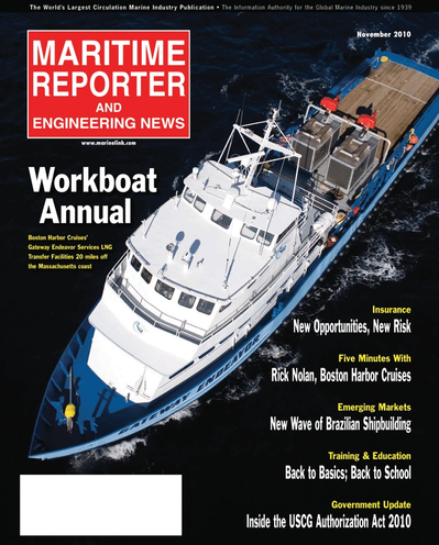 Cover of November 2010 issue of Maritime Reporter and Engineering News Magazine