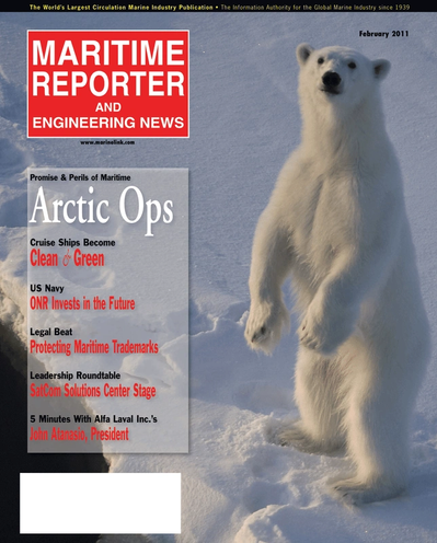 Cover of February 2011 issue of Maritime Reporter and Engineering News Magazine