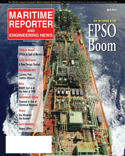 Cover of April 2011 issue of Maritime Reporter and Engineering News Magazine