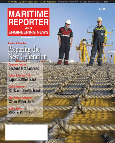 Cover of May 2011 issue of Maritime Reporter and Engineering News Magazine