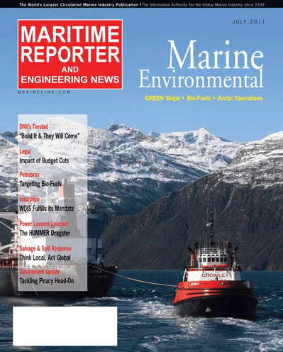 Cover of July 2011 issue of Maritime Reporter and Engineering News Magazine