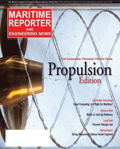 Cover of September 2011 issue of Maritime Reporter and Engineering News Magazine