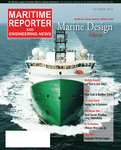 Cover of October 2011 issue of Maritime Reporter and Engineering News Magazine