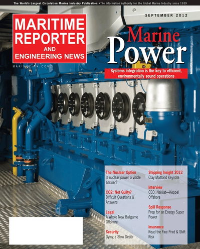 Cover of September 2012 issue of Maritime Reporter and Engineering News Magazine