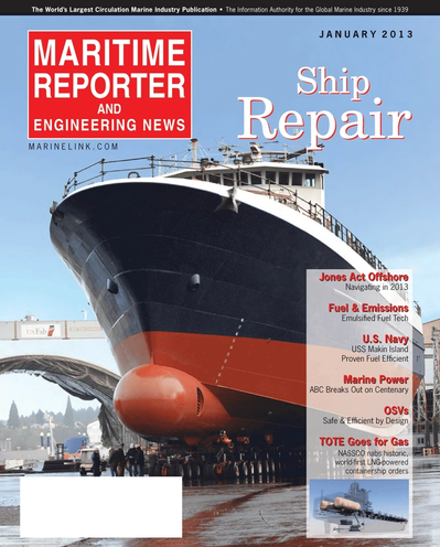 Cover of January 2013 issue of Maritime Reporter and Engineering News Magazine