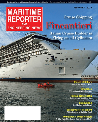 Cover of February 2013 issue of Maritime Reporter and Engineering News Magazine
