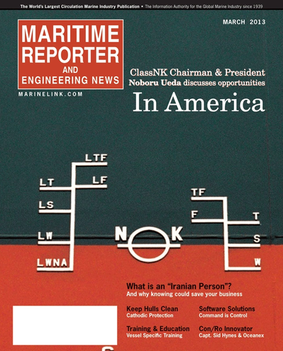 Cover of March 2013 issue of Maritime Reporter and Engineering News Magazine
