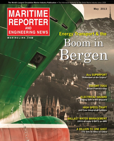 Cover of May 2013 issue of Maritime Reporter and Engineering News Magazine