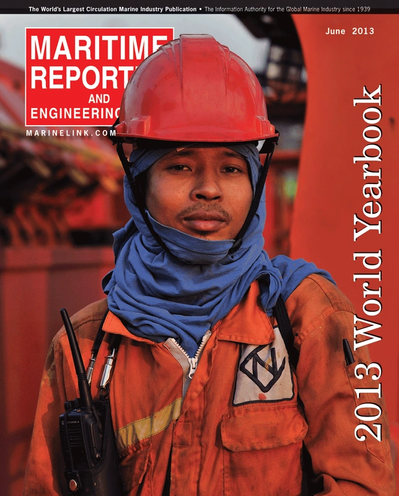 Cover of June 2013 issue of Maritime Reporter and Engineering News Magazine