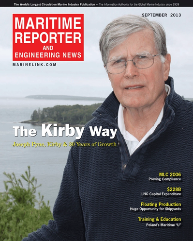 Cover of September 2013 issue of Maritime Reporter and Engineering News Magazine