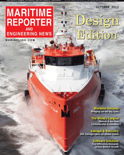 Cover of October 2013 issue of Maritime Reporter and Engineering News Magazine