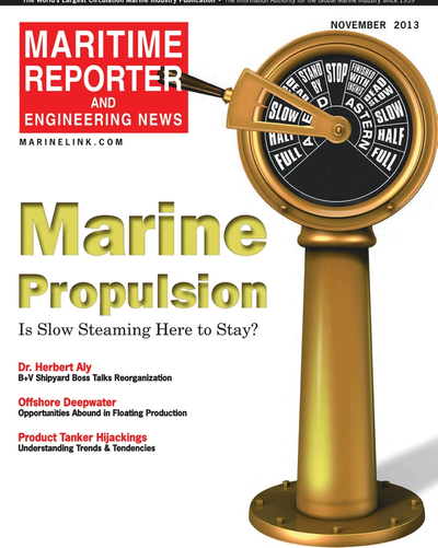 Cover of November 2013 issue of Maritime Reporter and Engineering News Magazine