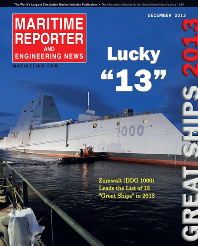 Cover of December 2013 issue of Maritime Reporter and Engineering News Magazine