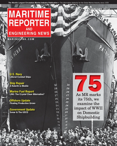 Cover of January 2014 issue of Maritime Reporter and Engineering News Magazine