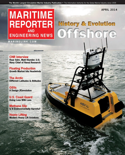 Cover of April 2014 issue of Maritime Reporter and Engineering News Magazine
