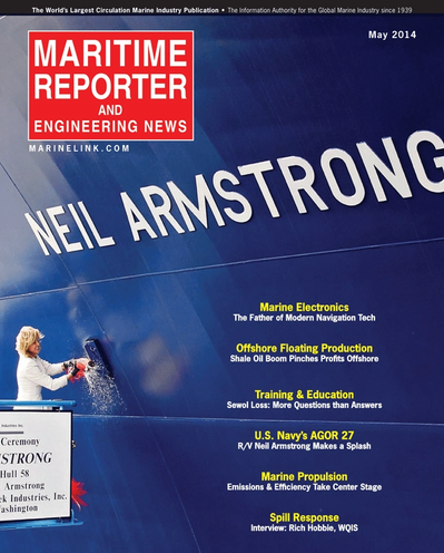 Cover of May 2014 issue of Maritime Reporter and Engineering News Magazine