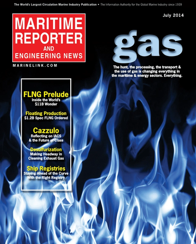 Cover of July 2014 issue of Maritime Reporter and Engineering News Magazine