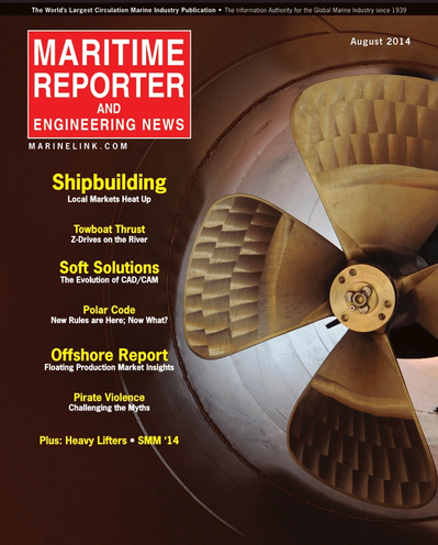 Cover of August 2014 issue of Maritime Reporter and Engineering News Magazine