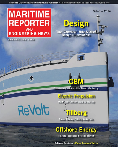 Cover of October 2014 issue of Maritime Reporter and Engineering News Magazine