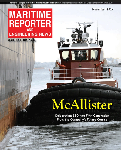 Cover of November 2014 issue of Maritime Reporter and Engineering News Magazine