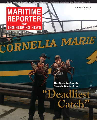 Cover of February 2015 issue of Maritime Reporter and Engineering News Magazine