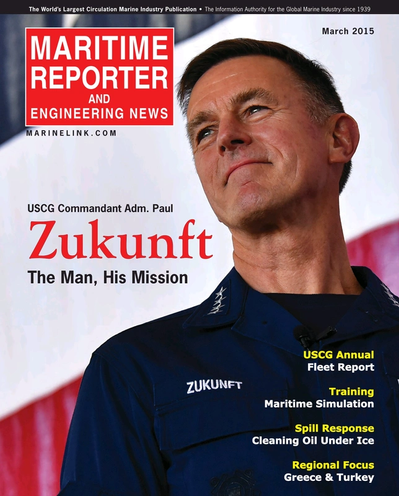 Cover of March 2015 issue of Maritime Reporter and Engineering News Magazine
