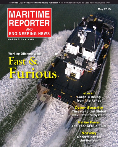 Cover of May 2015 issue of Maritime Reporter and Engineering News Magazine