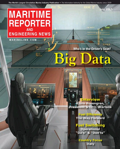 Cover of July 2015 issue of Maritime Reporter and Engineering News Magazine