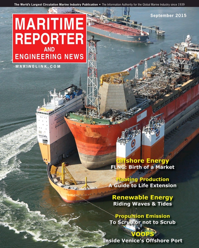 Cover of September 2015 issue of Maritime Reporter and Engineering News Magazine