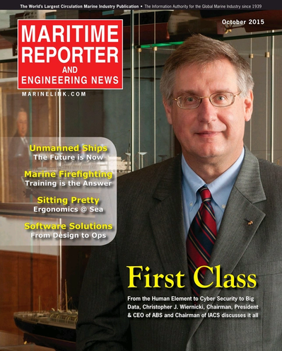 Cover of October 2015 issue of Maritime Reporter and Engineering News Magazine