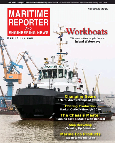 Cover of November 2015 issue of Maritime Reporter and Engineering News Magazine