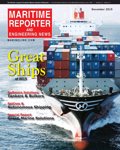 Cover of December 2015 issue of Maritime Reporter and Engineering News Magazine