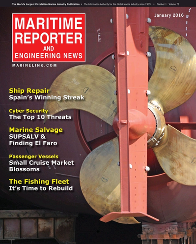 Cover of January 2016 issue of Maritime Reporter and Engineering News Magazine