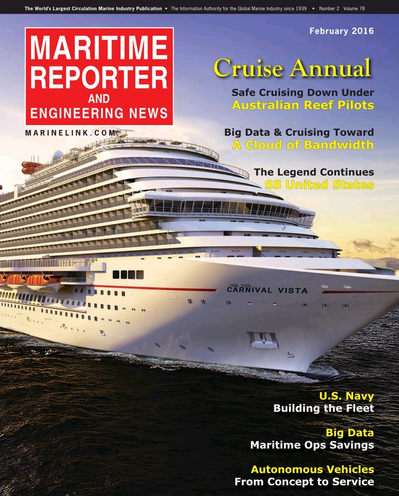 Cover of February 2016 issue of Maritime Reporter and Engineering News Magazine