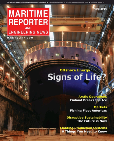 Cover of April 2016 issue of Maritime Reporter and Engineering News Magazine