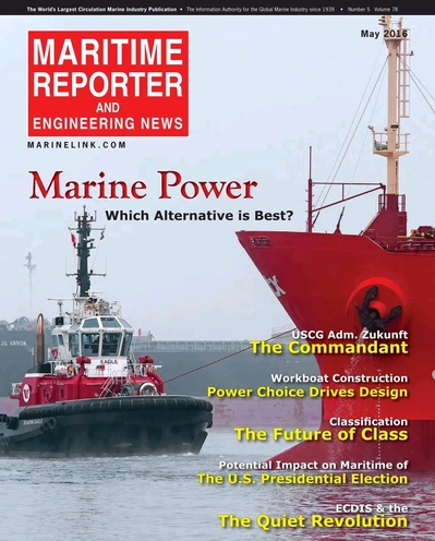 Cover of May 2016 issue of Maritime Reporter and Engineering News Magazine
