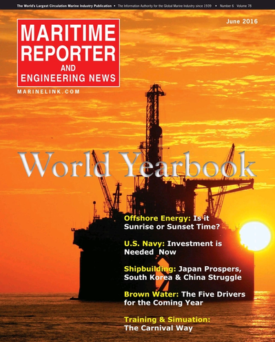 Cover of June 2016 issue of Maritime Reporter and Engineering News Magazine