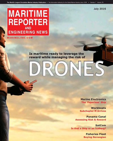Cover of July 2016 issue of Maritime Reporter and Engineering News Magazine
