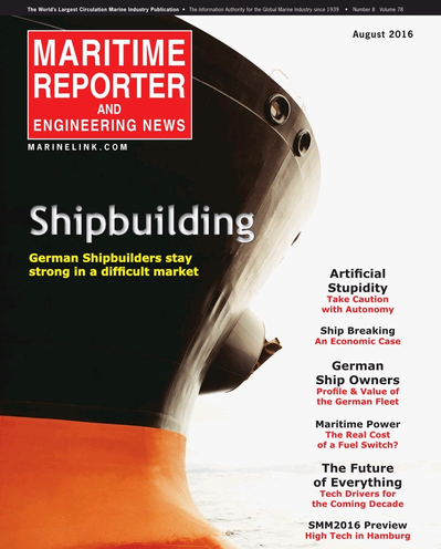 Cover of August 2016 issue of Maritime Reporter and Engineering News Magazine