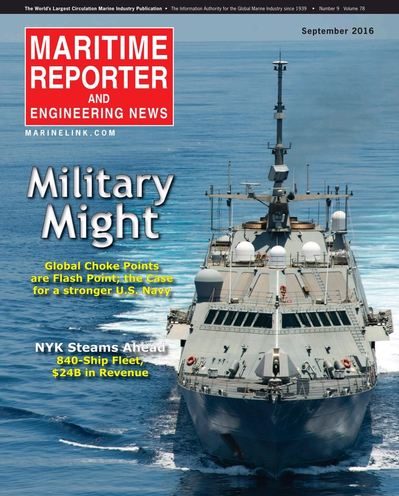 Cover of September 2016 issue of Maritime Reporter and Engineering News Magazine