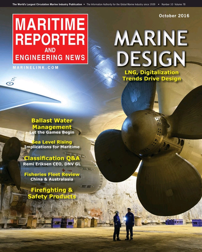 Cover of October 2016 issue of Maritime Reporter and Engineering News Magazine