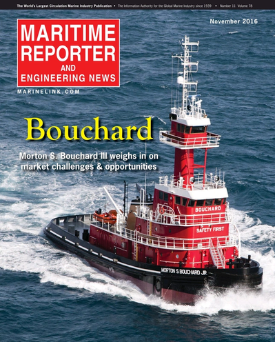 Cover of November 2016 issue of Maritime Reporter and Engineering News Magazine