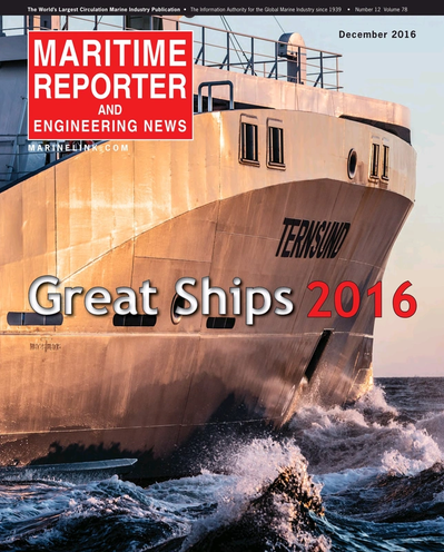 Cover of December 2016 issue of Maritime Reporter and Engineering News Magazine